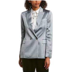 NWT Reiss Aria Blazer Jacket in Metallic Silver Blue